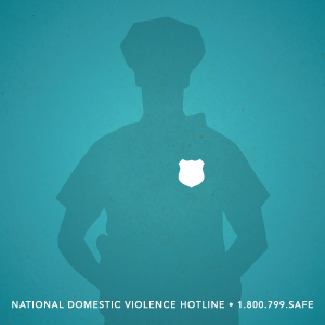 Graphic on a teal background of the silhouette of a police officer in grey with a white police badge on the chest
